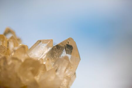 Rock crystal in front of blue sky