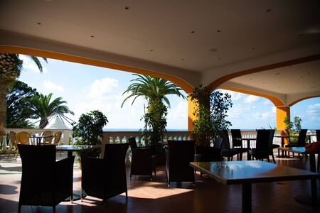Hotel bar with palm trees and beautiful view
