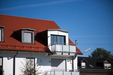 white semi-detached house in germany 版權商用圖片