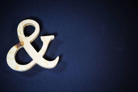 and, et sign on black background, symbol,