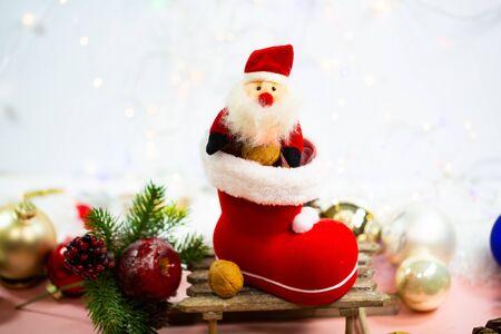 Nicholas boot with Santa Claus and decoration 版權商用圖片