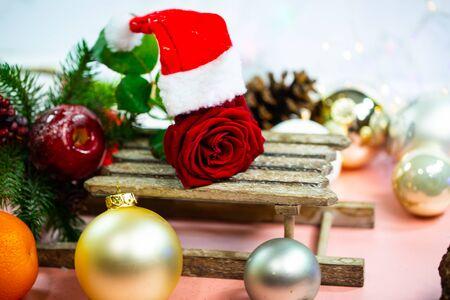 red rose with santa hat, christmas card 版權商用圖片