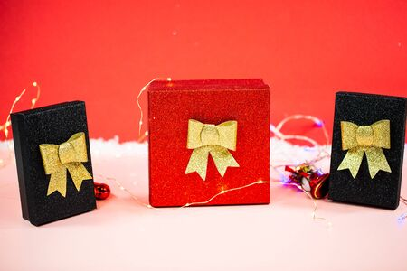 Christmas presents on a red background