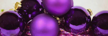 Purple christmas balls, banner
