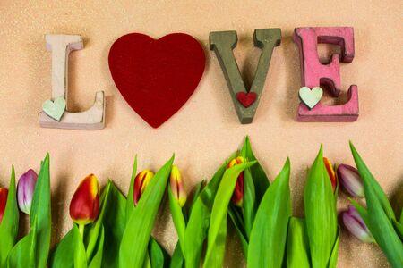 Love with tulips plant on orange