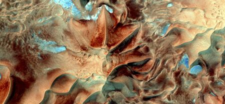 Allegory to The fungus Clathurs archeri, abstract photography of the deserts of Africa from the air. aerial view of desert landscapes, Genre: Abstract Naturalism, from the abstract to the figurative