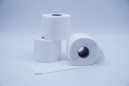White toilet paper roll isolated on white background. Soft hygienic paper. Panic and phobia concept caused by pandemic