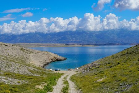 Beautiful view of the beach in the distance,you can see the mountain Velebit Stock fotó - 150294061