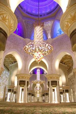 blue mosque: ABU DHABI, UAE - NOV 21  The Shaikh Zayed Mosque interior on the November 21, 2010 in Abu Dhabi, This is largest mosque in UAE white marbel  Editorial