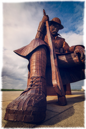 """corten: 11-01 otherwise known as Tommy sits  in Seaham, depicts a soldier, mulling his thoughts after the armistice- """"Now in the wake of this glorious slaughter, He'd seen many a soul cleansed in filthy water, Seen godless men reach out for the Bible, As lead"""
