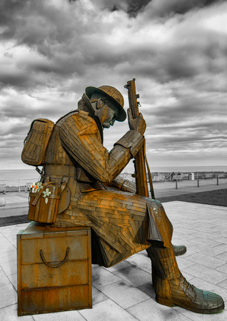 """11-01 otherwise known as Tommy sits  in Seaham, depicts a soldier, mulling his thoughts after the armistice- """"Now in the wake of this glorious slaughter, He'd seen many a soul cleansed in filthy water, Seen godless men reach out for the Bible, As lead"""
