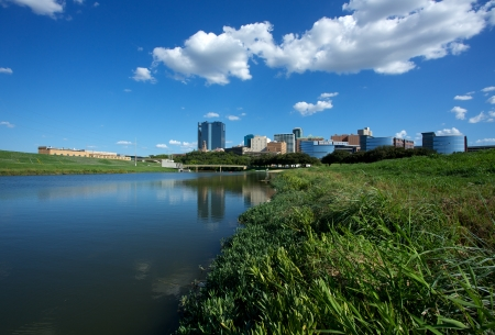View of Downtown Fort Worth from the Trinity River Stock Photo