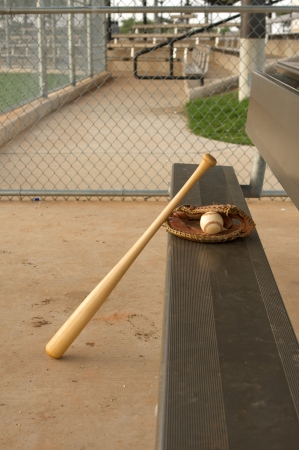 dugout: Baseball Bat and Glove on the bench of the dugout