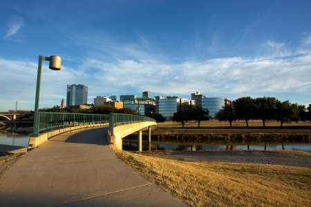 fort worth: View of Downtown Fort Worth from the Trinity River Stock Photo