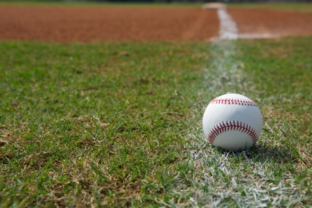 Baseball on the Outfield Foul Ball Chalk Line Stock Photo - 18825853