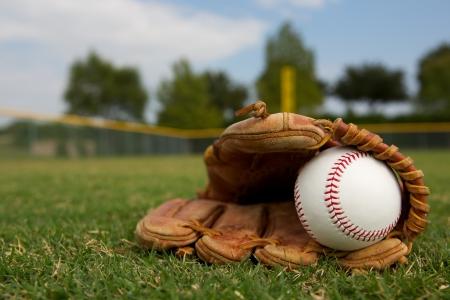 guante de beisbol: B�isbol nuevo en un guante en el jard�n