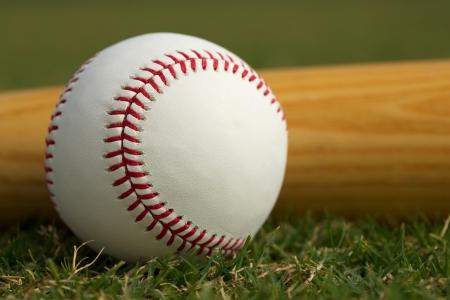 Baseball Close Up & Bat on the Grass Stock Photo
