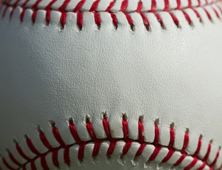 Close up of a baseball threads with room for copy Stock Photo
