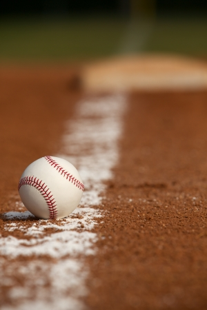 sports background: Baseball on the Infield Chalk Line with the Base in the distance