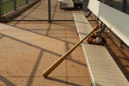 dugout: Baseball   Bat and Glove in the Dugout
