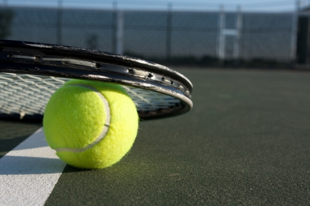 Tennis Ball Close Up and Racket with room for copy