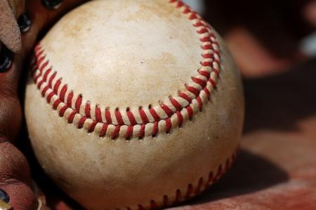 Worn Baseball Close up in a Glove