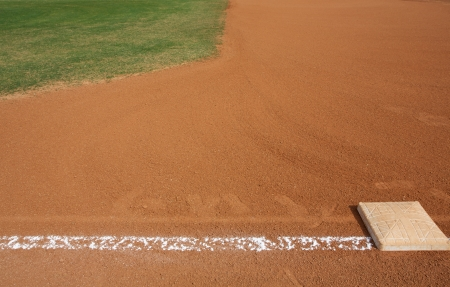base: Baseball First Base with the field beyond and room for copy