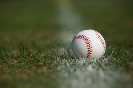 New Baseball in the Outfield Grass Stock Photo - 22268291