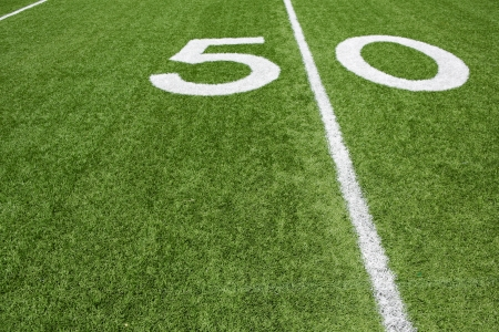 american football background: American Football Fifty Yard Line with room for copy Stock Photo