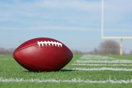 campo di calcio: Pro Football americano sul campo Primo piano con i Pali di l�