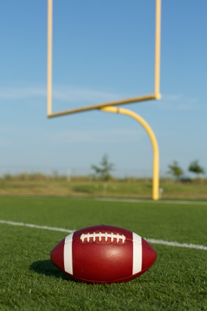 american football field: American Football on the Field with Goalposts beyond