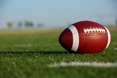collegiate: American Football on the Field with room for copy Stock Photo
