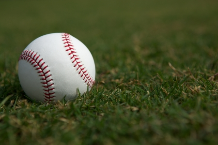 Baseball on the Outfield Grass with room for copy Stock Photo - 22269709