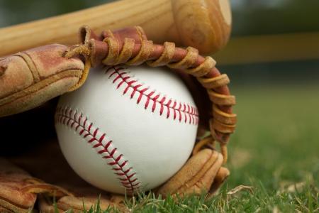 guante de beisbol: Béisbol en un guante en el campo