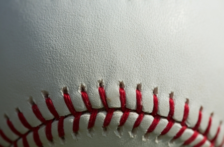 Close up of a baseball threads with room for copy 版權商用圖片