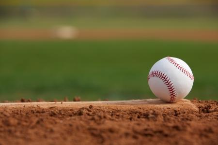 Honkbal op de Pitchers Mound Close Up met ruimte voor kopiëren Stockfoto
