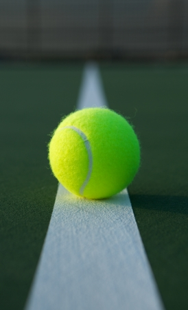 tennis racket: Tennis Ball on the Court Line Close up