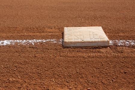 base: Baseball Third Base with the field beyond and room for copy Stock Photo