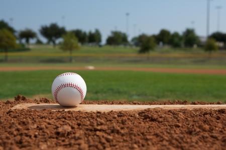 campo de beisbol: Béisbol en el montón de jarras de primer plano con espacio para copiar