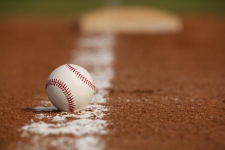 Baseball Close Up on the Infield Chalk Line Stock Photo