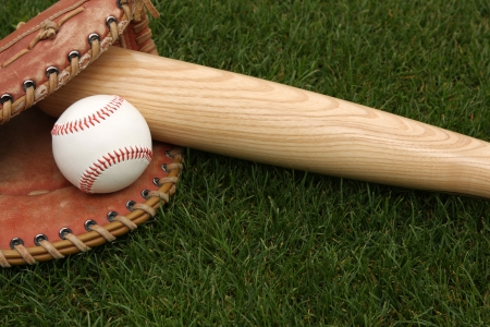 Baseball Glove and Bat on the Grass Stock Photo - 23696522