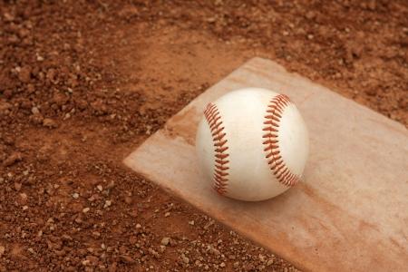pitchers mound: Baseball close up on the Pitchers Mound Stock Photo