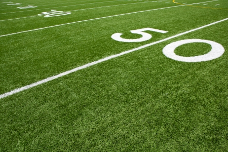 american football background: Yard Lines of a Football Field from the Fifty
