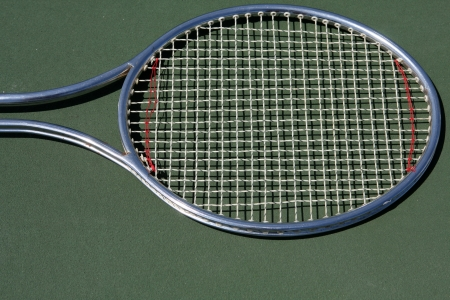 Tennis Racket on the court with room for copy