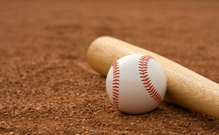 infield: Baseball   Bat on the Infield Dirt