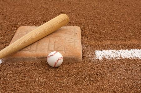 Baseball   Bat near Third Base Stock Photo - 23748666