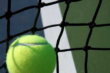 Tennis Ball against the Court Net with room for copy Imagens
