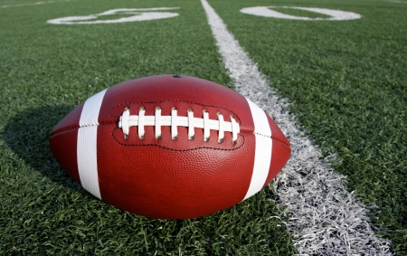filed: American Football on filed with the Fifty Yard Line Beyond