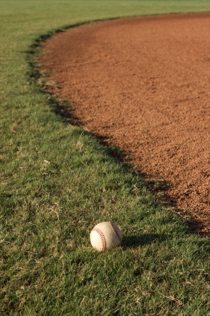 outfield: Baseball in the outfield grass