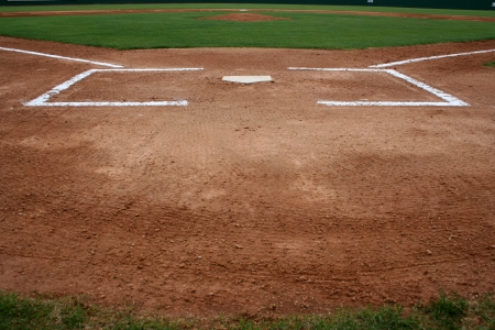 Baseball Field at Home Plate and the Batters Box